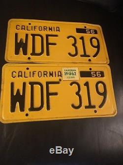 1956 CALIFORNIA LICENSE PLATE PAIR SHOW CAR QUALITY 1962 Tag- Untouched