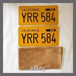1956 CALIFORNIA License Plates Pair Original DMV Clear YOM 57 58 59 60 61 62