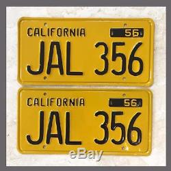 1956 CALIFORNIA License Plates Pair Restored DMV Clear YOM