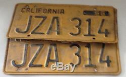 1956 CA California CAR License Plate Matching Pair Set Vintage