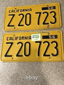 1956 California CA Commercial Truck Plates License Collector Vintage Pair