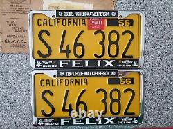 1956 California Commercial License Plates, 1961 Validation, DMV Clear, NOS Mint