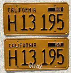 1956 California Commercial License Plates Pair DMV Clear Professionally restored
