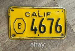 1956 California Exempt Motorcycle License Plate Original CA Vintage Display Only
