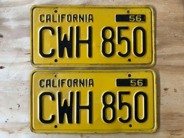 1956 California License Plate Dmv Clear Tag Number Cwh 850