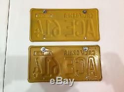 1956 California License Plate Pair ACE 614 Custom Vanity RESTORED