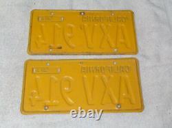 1956 California License Plate Pair, Car DMV Clear Original Rare Axv 914 Jrs