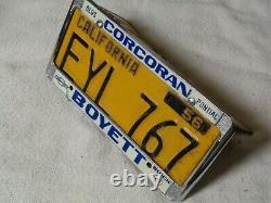 1956 California License Plate Pair, Car DMV Clear Original Rare Eyl 767