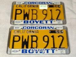 1956 California License Plate Pair, Car DMV Clear Original Rare Pwb 912