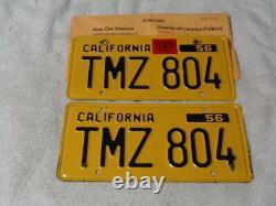 1956 California License Plate Pair, Car DMV Clear Original Rare Tmz-804 Jrs