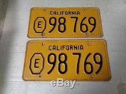 1956 California License Plate Pair, Original Rare Pair #98 769 Exempt