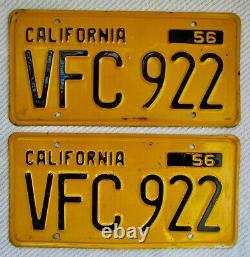 1956 California License Plate Pair # VFC 922 DMV CLEAR