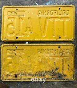 1956 California License Plate Pair #VTT 415