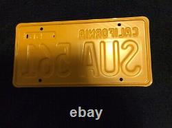 1956 California License Plate Set Yellow And Black