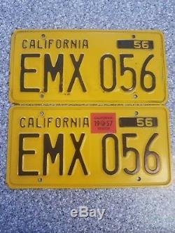 1956 California License Plates, 1957 Validation, DMV Clear Guaranteed, G
