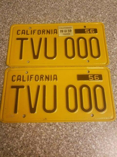 1956 California License Plates, 1959 Validation, Dmv Clear Guaranteed