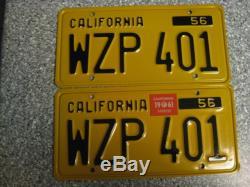 1956 California License Plates, 1961 Validation, DMV Clear Guaranteed, NM