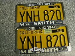 1956 California License Plates, 1962 Validation, DMV Clear Guaranteed, NM