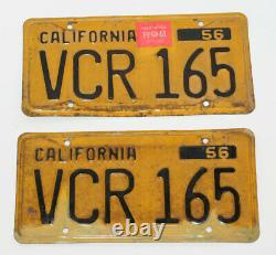 1956 California License Plates CA Matching Set VCR 165 WoW LQQK Vintage