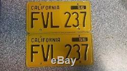 1956 California License Plates, Correct 56, DMV Clear Guaranteed, EX