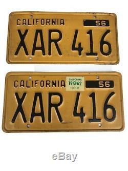 1956 California License Plates Original Vintage Car Tags YOM Rare Matching Set