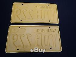 1956 California License plate PAIR DMV Clear YOM 1960s YDB 229