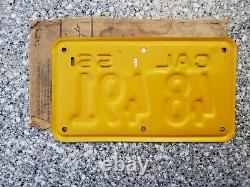 1956 California Motorcycle License Plate, 1958 Validation, Natural, DMV Clear