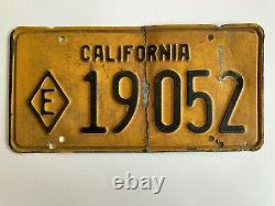 1956 California State Police Trooper License Plate Patrol Diamond E Exempt RARE