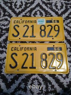 1956 California Yellow Black License Plate Set S21 829 truck plates matching set