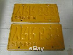 1956 California license Plate pair ORIGINAL RARE