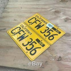 1956 California license plate pair CFW 356 YOM DMV clear Porsche 1959