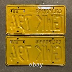 1956 California license plate pair GWK 794 YOM DMV clear Ford Chevy 1957 1958