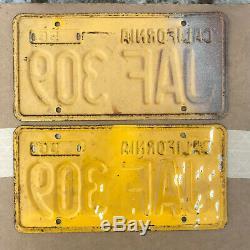 1956 California license plate pair JAF 309 YOM DMV clear Ford Chevy Impala 1961