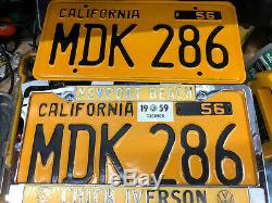 1956 California license plate pair MDK 286 YOM DMV clear VW 1959 Sticker