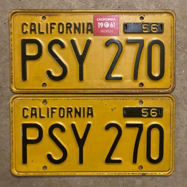 1956 California License Plate Pair Psy 270 Yom Dmv Clear Ford Chevy Impala 1959