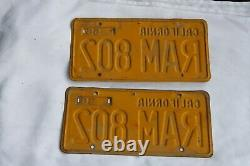 1956 California license plate pair RAM 802, DMV CLEAR
