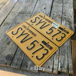1956 California license plate pair SYV 573 YOM DMV clear Ford Chevy Impala 1959