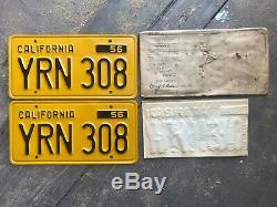 1956 California license plate pair YRN 308 YOM DMV clear 1962 NOS envelope Ford