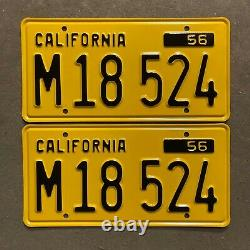1956 California truck license plate pair M 18 524 YOM DMV clear Ford Chevy Dodge