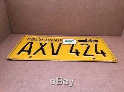 1956 DMV Clear Rare Yom(california) Axv 424 License Plate-vintage-original