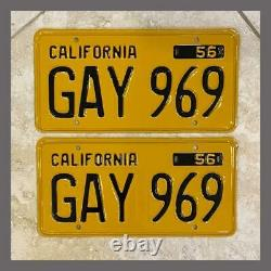 1956 Passenger Car Restored CALIFORNIA License Plates Pair DMV Clear YOM