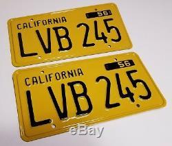 1956 VINTAGE ORIGINAL California License Plates tags 1957 1958 1959 1960 1961 62