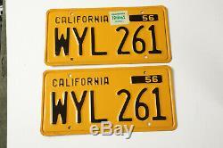 1956 Vintage California License Plate Pair (P3L) 1962 Tags WYL 261 EUC