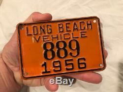 1956 Vintage Long Beach CALIFORNIA Harley 889 MOTORCYCLE vehicle LICENSE PLATE