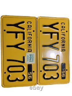1956 california license plates pair