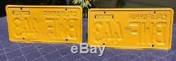 1956 california license plates pair (yellow 1956-1962) BWF 443