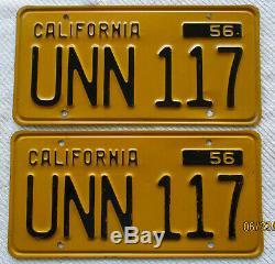1956 to 1962 California License Plate Pair DMV CLEAR # UNN 117