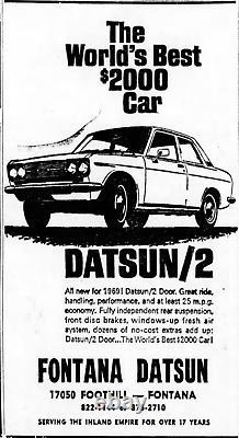 1960's Fontana California Datsun Vintage JDM 510 240 Dealer License Plate Frame