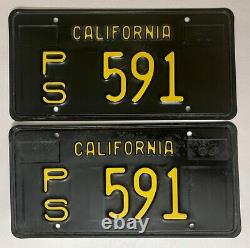 1960s CALIFORNIA Public Service License Plate PAIR CA 1963-69 Series #PS-591