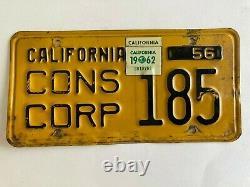 1962 1956 California License Plate Consular Corps ORIGINAL Diplomat VERY RARE